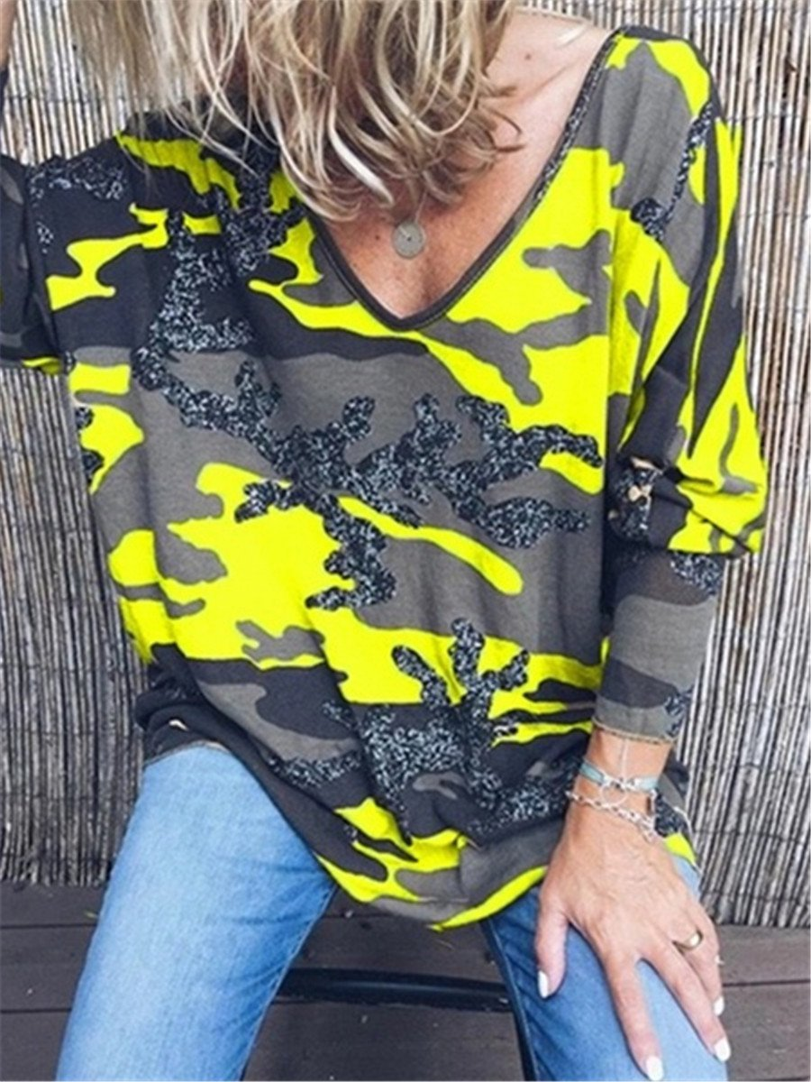 Casual Fashion Camouflage Print V Neck Blouses