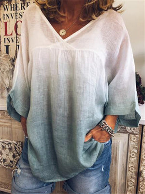 Stylish Gradient V Neck Bat Sleeve Blouses