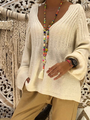 Casual loose v-neck long sleeve sweater