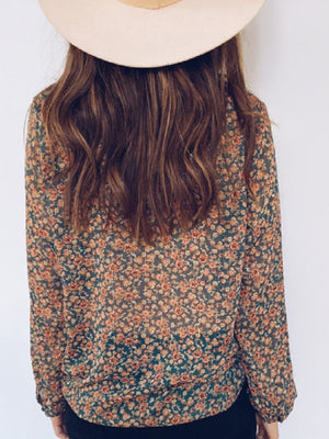 Loose Long Sleeve Tops Floral Printed Blouses Boho Shirt