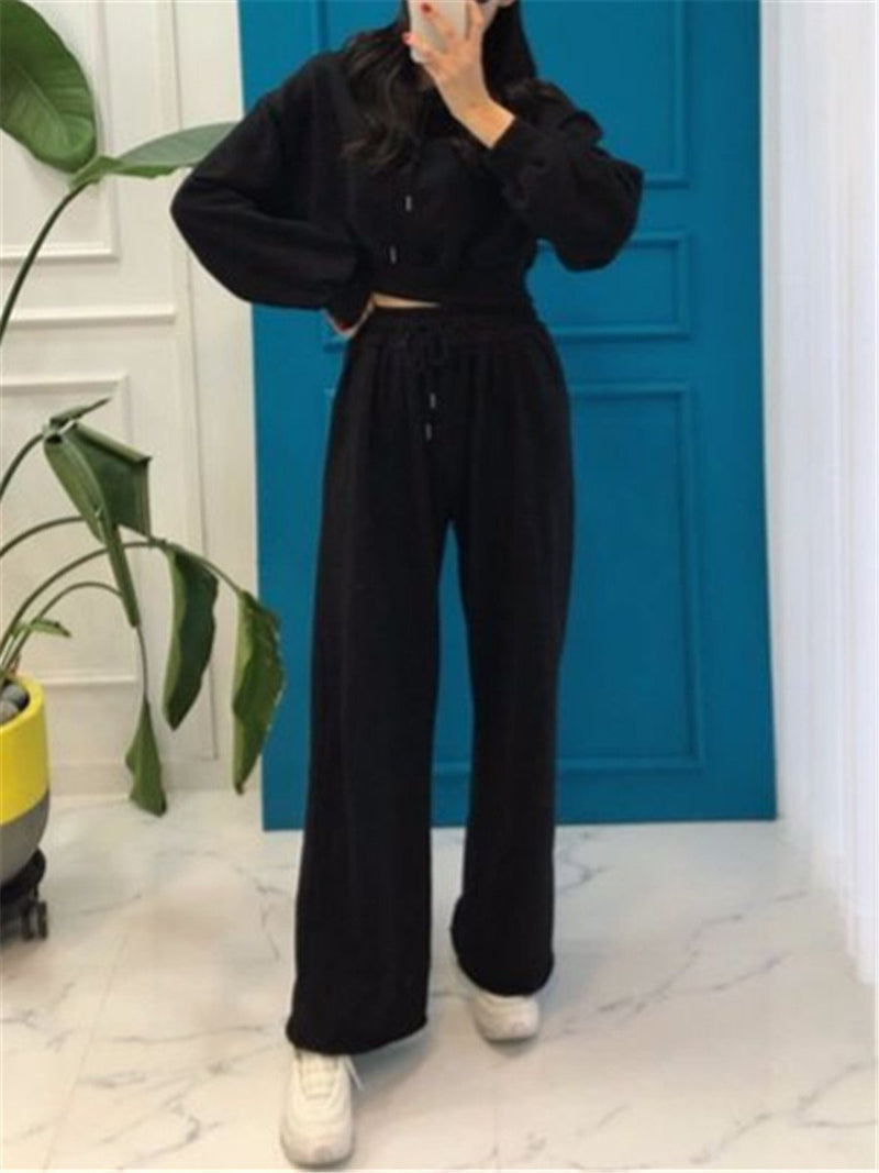Casual Solid Color Hooded Wide Leg Pants Suits