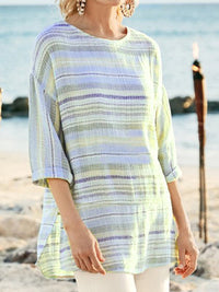 Crew Neck Mid-Length Sleeves Striped Blouse