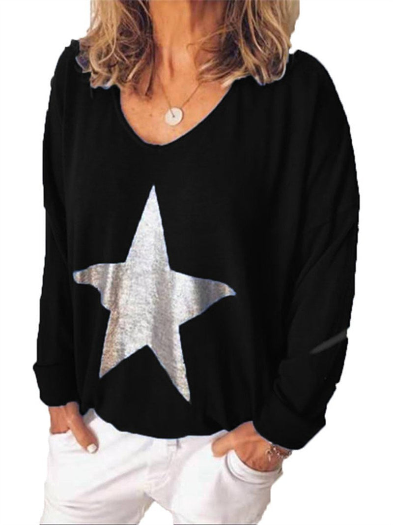 Stylish Casual V Neck Star Print Blouses