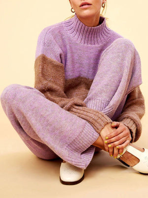 Color Block Stitching Long-sleeved Casual Knit Two-piece Suit
