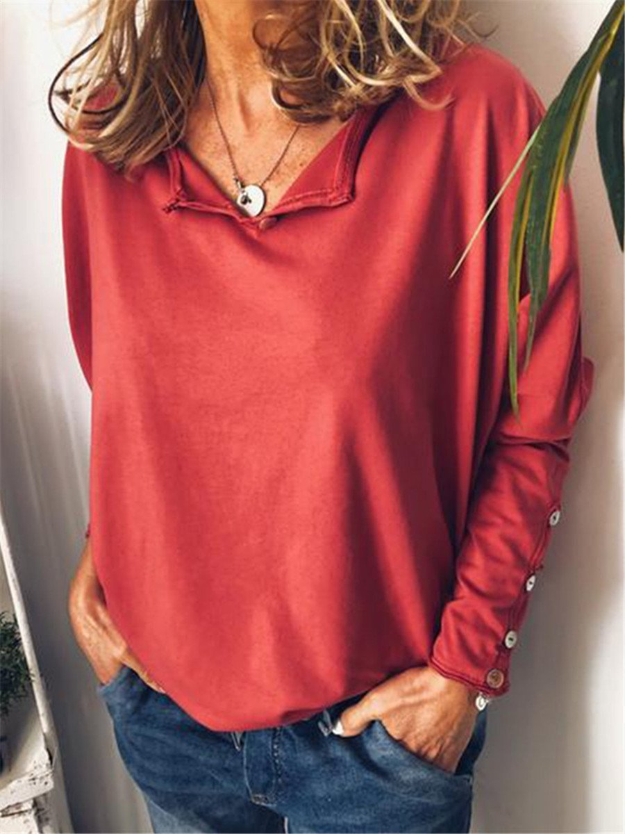 Fashion Solid Color Loose V Neck Blouses