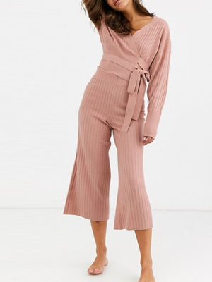Casual Loose V-Neck Strap Long Sleeve Wide Leg Pants Knitted Suit