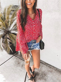 Fashion Floral Print Flared Sleeve Shirts