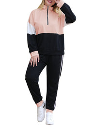 Color Block Zipper Elastic Waist Pants Plus Size Casual Sport Suit