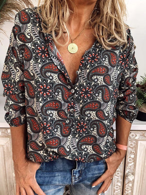Vintage Loose Casual Print Button Long Sleeve Shirt