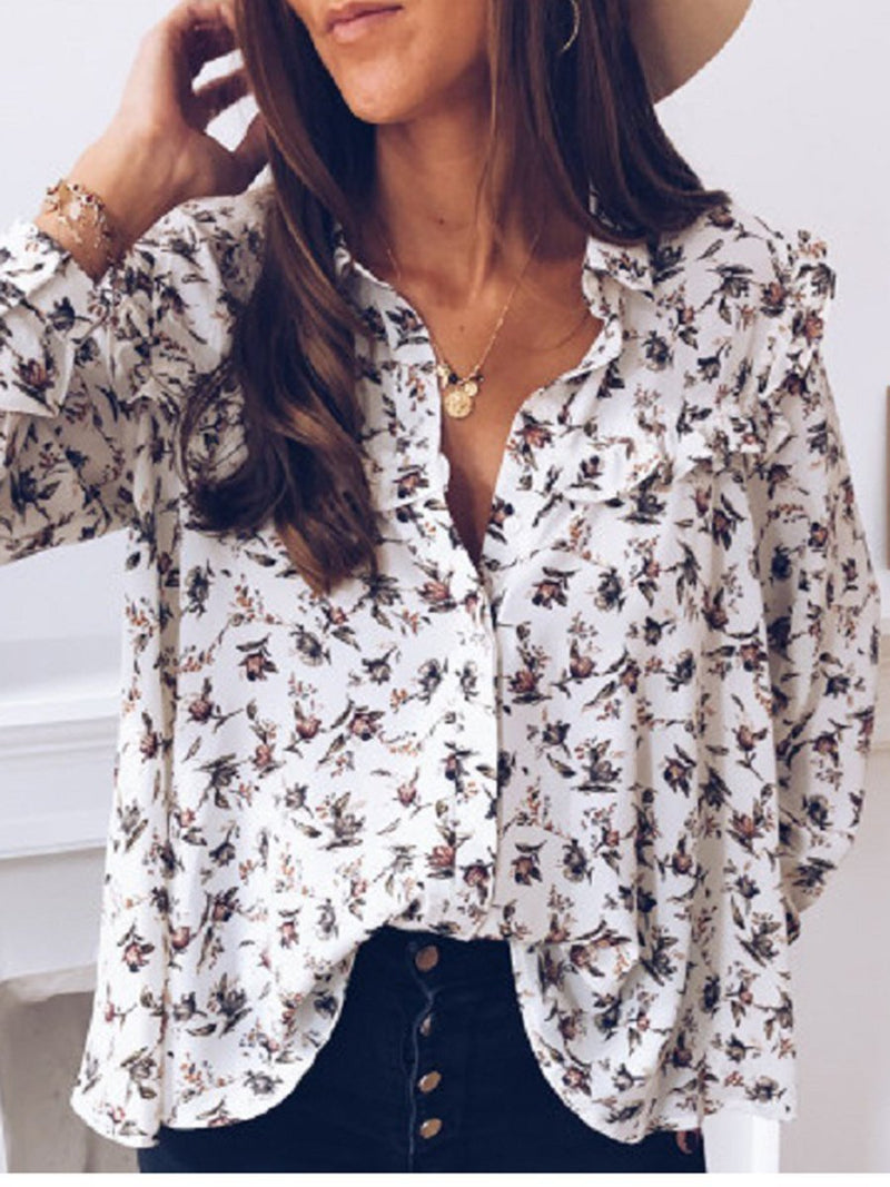 Fashion Long Sleeve Floral Printed Blouse