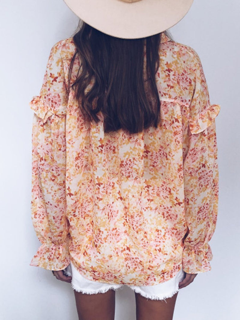 Fashion V-neck Loose Long Sleeve Floral Printed Blouse