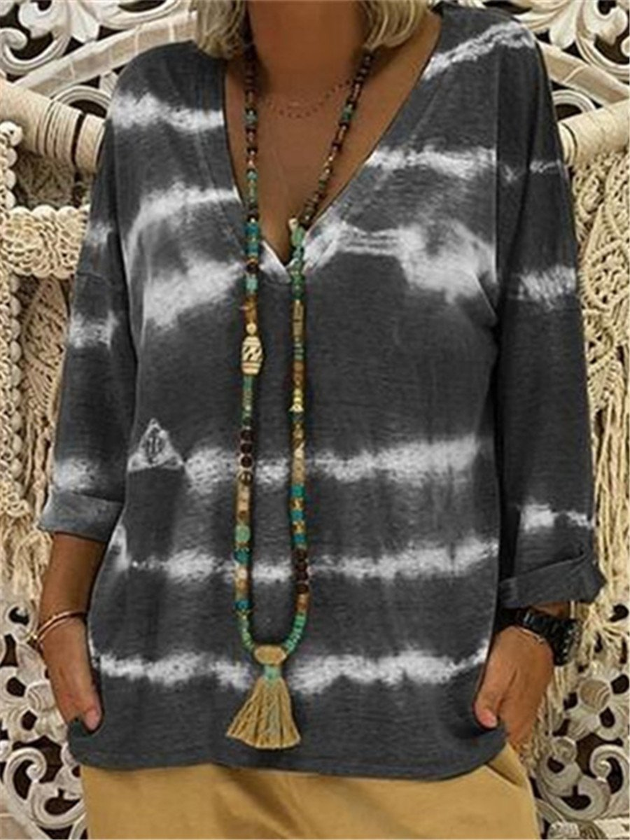 Stylish Tie Dye V Neck Casual Blouses