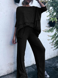 3/4 Sleeve Knitted Two Pieces Pants Sets Suits