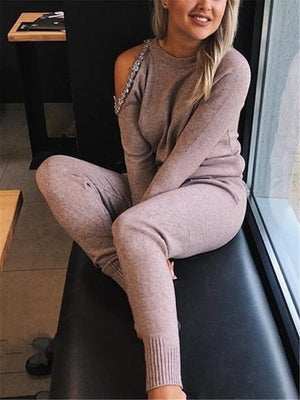 Casual Loose Knit Set Knitted Sweater And Pants Set