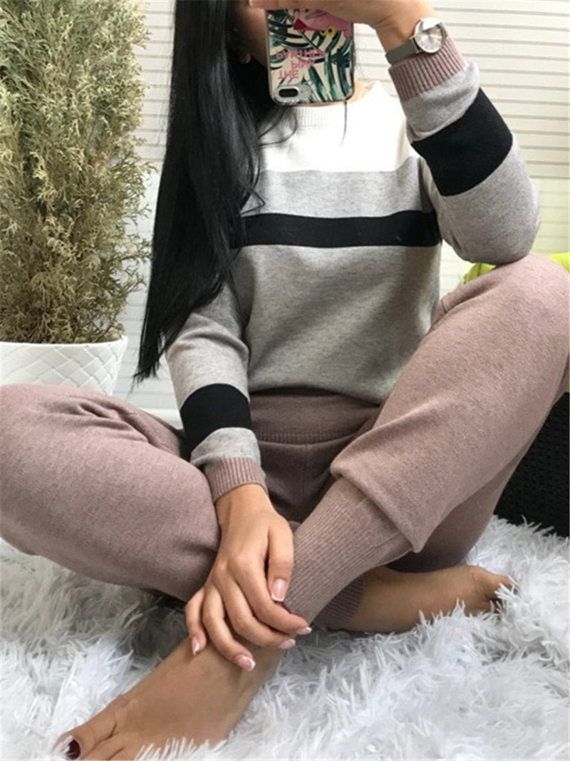 Casual Round Collar Contrast Knit Suits