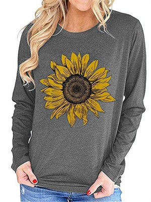 Loose Casual Long Sleeve Sunflower Stitch T-Shirt Top