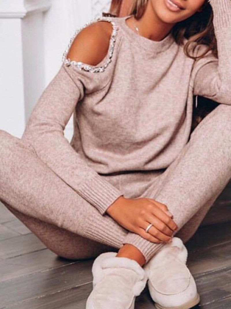 Casual Knitted Sweater and Pants Set