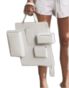 White leather caba bag