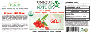 Goji Berry (Wolf Berry) Organic - 120 Veg caps - Unique Products of Nature