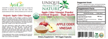 Load image into Gallery viewer, Apple Cider Vinegar Organic - 120 veg caps -  Unique Products of Nature