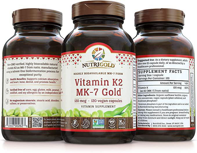 Vitamin K2 MK-7 Gold - 100mcg - 120 Caps - Nutrigold