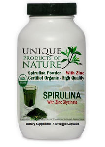 Spirulina With Zinc Glycinate Organic - 120 veg caps -  Unique Products of Nature
