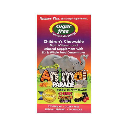 Animal Parade Sugar Free- Children's Chewable Multi- Vitamin and Mineral Supplement  - Assorted - 90 Tabs - Natures Plus