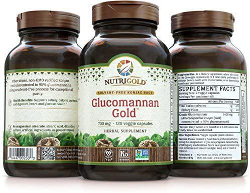 Glucomannan Gold - 700 mg - 120 Caps - NutriGold