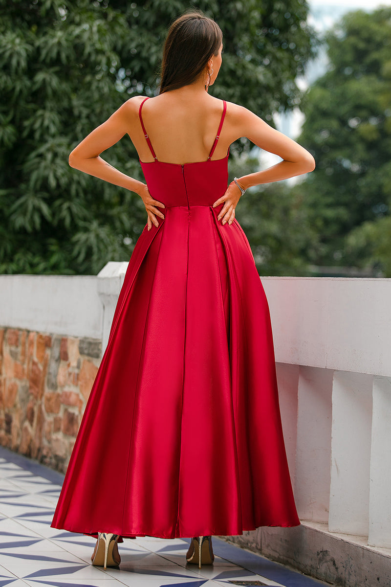 Load image into Gallery viewer, Burgundy Satin Dress