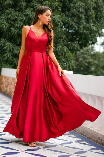 Burgundy Satin Dress