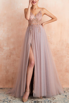 V-neck Grey Pink Tulle Dress