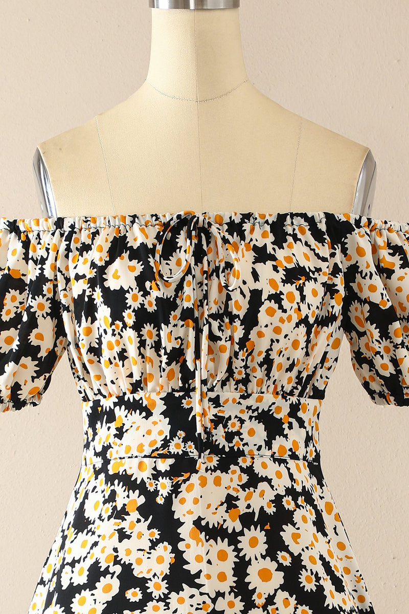 Load image into Gallery viewer, Black Off Shoulder Print Casual Dress