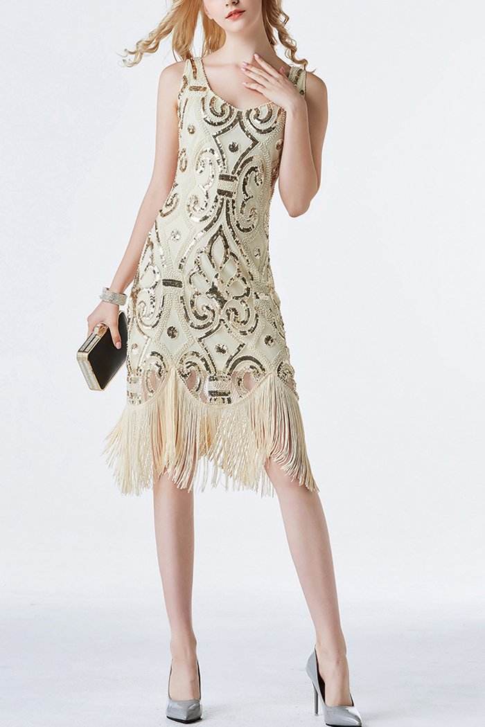 Load image into Gallery viewer, 1920s Champagne Sequins Flapper Tea-Length Dress