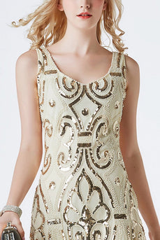 1920s Champagne Sequins Flapper Tea-Length Dress