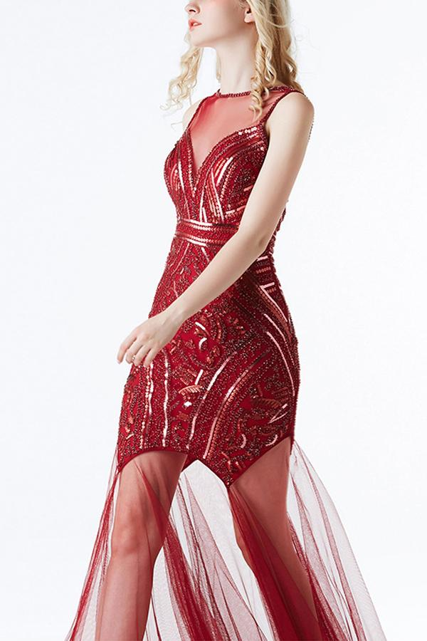 Load image into Gallery viewer, Red Sequin Long Tulle 1920s Dress