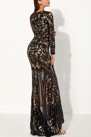 Black Mermaid Long Sequin Prom Evening Dress