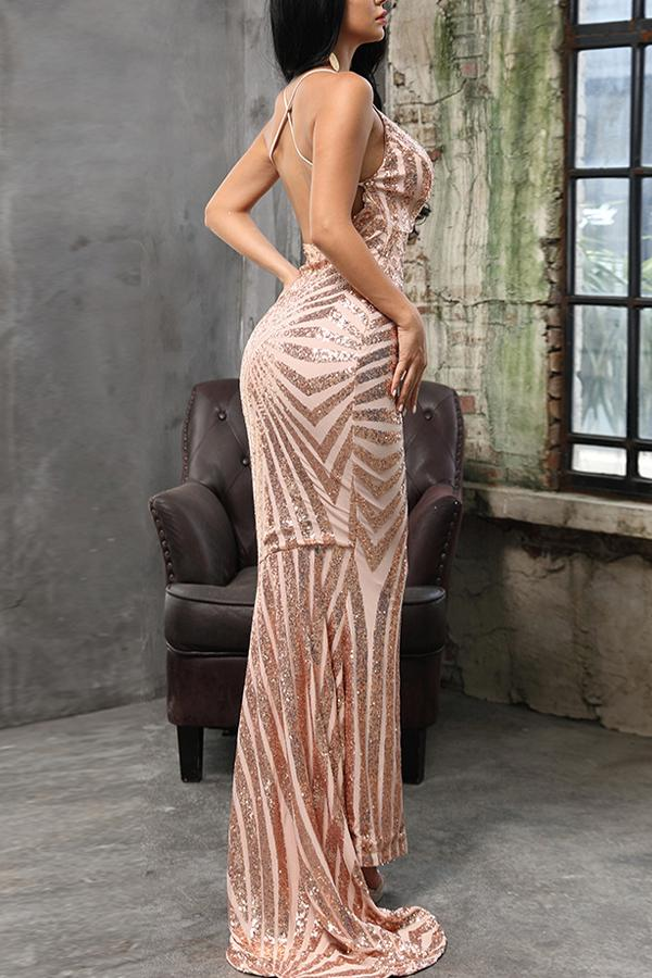 Load image into Gallery viewer, Gold Mermaid Evening Dress
