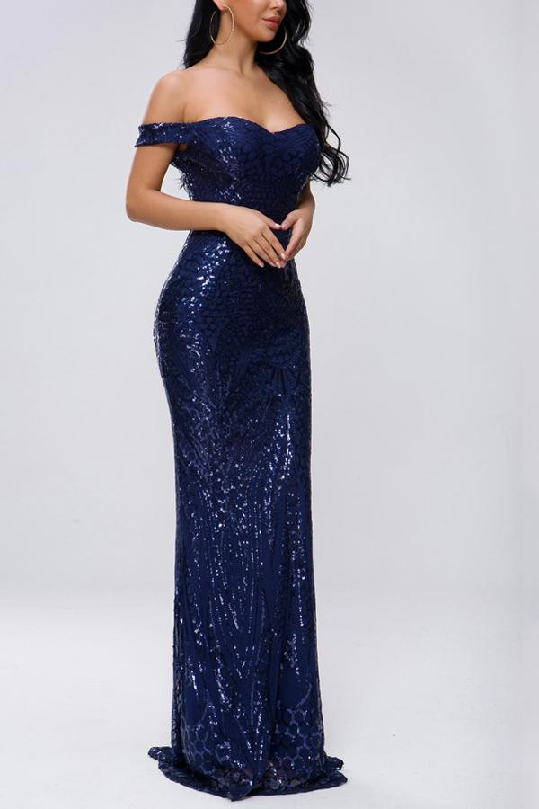 Load image into Gallery viewer, Off Shoulder Navy Mermaid Sequins Dress