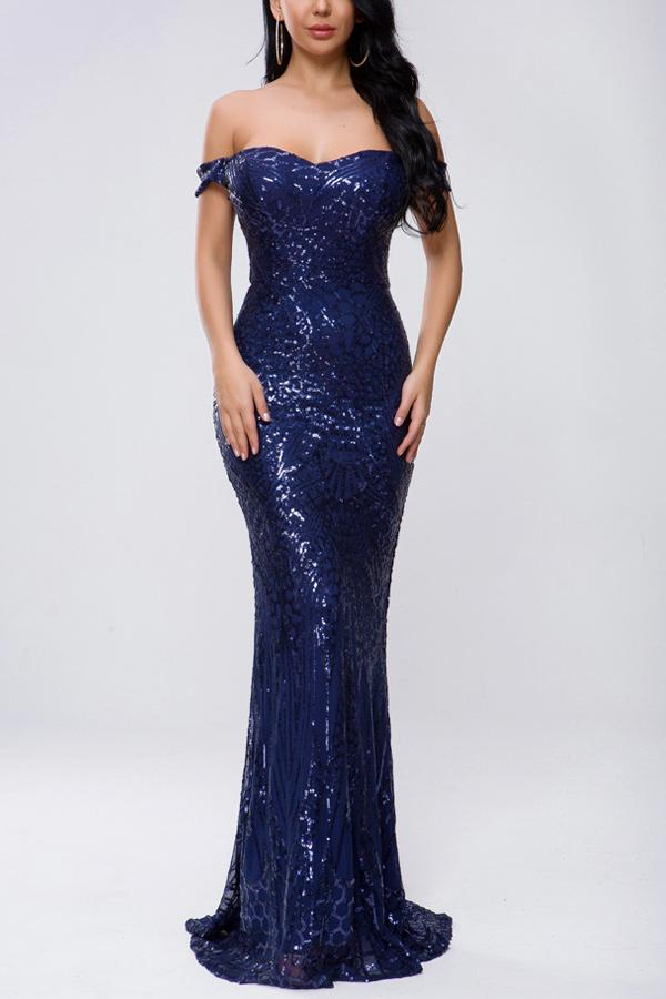 Off Shoulder Navy Mermaid Sequins Dress