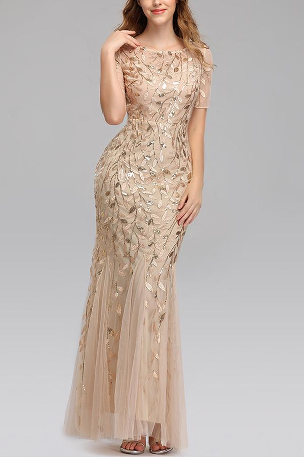 Load image into Gallery viewer, Mermaid Short Sleeves Champagne Prom Dress