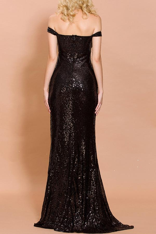 Load image into Gallery viewer, Black Sequin Memaid Long Prom Dress