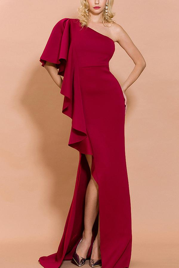 Load image into Gallery viewer, Amazing  One Shoulder Red Evening Party Dress