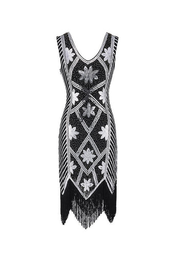 Black Sequins Beaded V-neck 1920s Dress