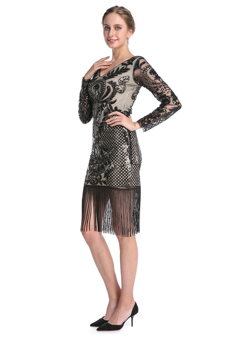 Load image into Gallery viewer, Black Long Sleeves 1920s Dress