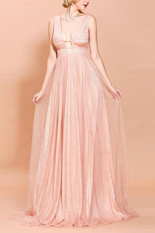 Pink Sequined Long Prom Dress