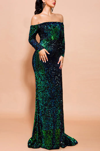 Green Mermaid Sequin Long Prom Dress with Sleeves