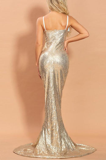 Gold V Neck Mermaid Prom Dress