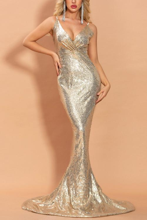 Load image into Gallery viewer, Gold V Neck Mermaid Prom Dress