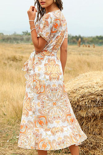 Asymmetrical Wrap Boho Dress