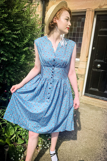 Blue 1950s Button Plaid Swing Dress